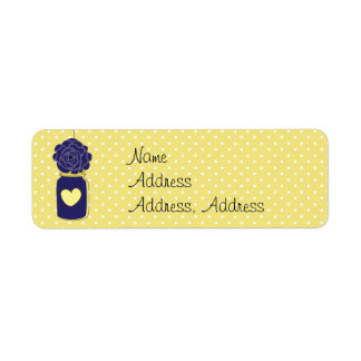 Country Rustic Mason Jar Navy Blue and Yellow Gold Return Address Label
