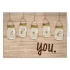 Country Rustic Mason Jar Thank You Note Card