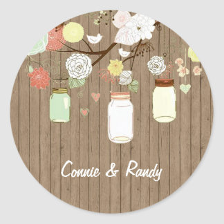 Country Rustic Mason Jar Wedding Sticker