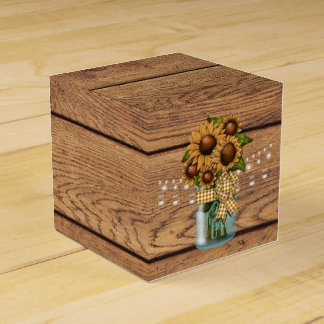 Country Rustic Mason Jar with Sunflower Favor Box