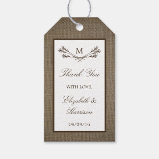 Country Rustic Monogram Branch & Burlap Wedding Pack Of Gift Tags