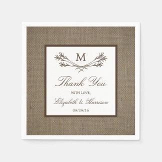 Country Rustic Monogram Branch & Burlap Wedding Paper Napkins
