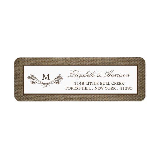 Country Rustic Monogram Branch & Burlap Wedding Return Address Label