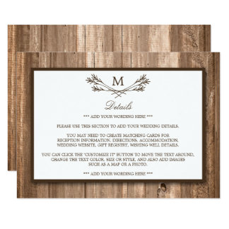 Country Rustic Monogram Branch & Wood Wedding Card