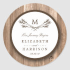 Country Rustic Monogram Branch & Wood Wedding Classic Round Sticker