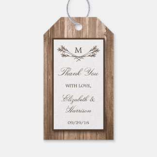 Country Rustic Monogram Branch & Wood Wedding Gift Tags