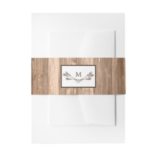 Country Rustic Monogram Branch & Wood Wedding Invitation Belly Band