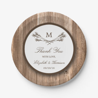 Country Rustic Monogram Branch & Wood Wedding Paper Plate
