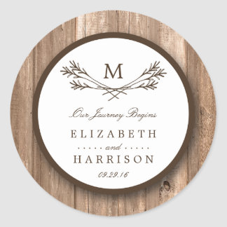 Country Rustic Monogram Branch & Wood Wedding Round Sticker