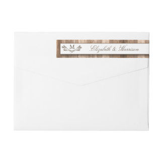 Country Rustic Monogram Branch & Wood Wedding Wrap Around Label