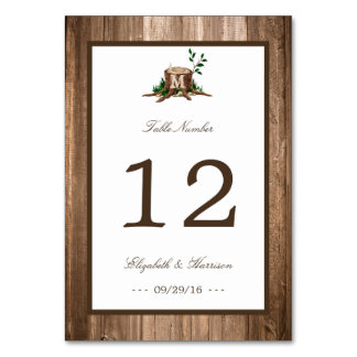 Country Rustic Monogram Tree & Wood Wedding Card