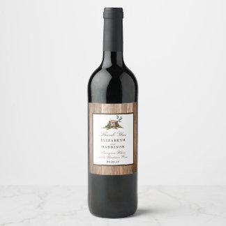 Country Rustic Monogram Tree & Wood Wedding Wine Label