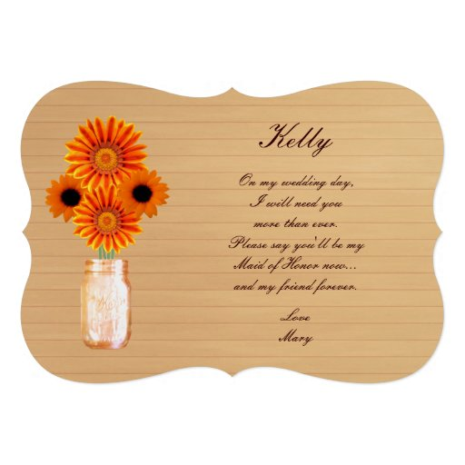 Country Rustic Orange Mason Jar Maid Of Honor Card