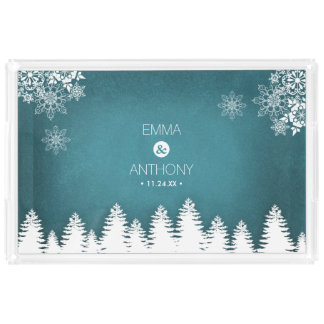 Country Rustic Pines Winter Wedding Acrylic Tray