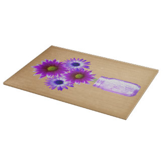 Country Rustic Purple Mason Jar Cutting Board
