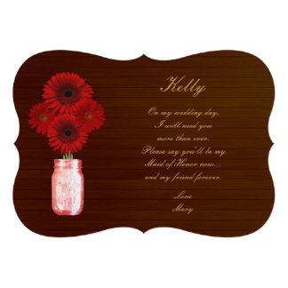 Country Rustic Red Mason Jar Maid Of Honor Card