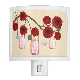 Country Rustic Red Mason Jars Night Light