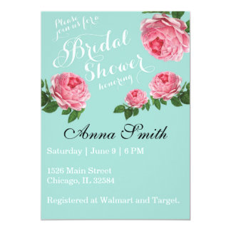 "Country Rustic Shabby Chic Vintage Botanical Rose 5"" X 7"" Invitation Card"