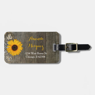 Country Rustic Sunflower and Lace Luggage Tag
