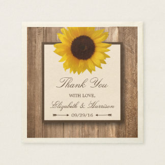 Country Rustic Sunflower & Brown Wood Wedding Paper Napkins