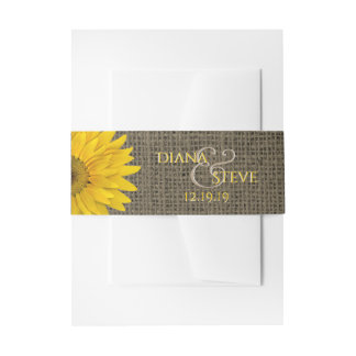 Country Rustic Sunflower Burlap Wedding Monogram Invitation Belly Band