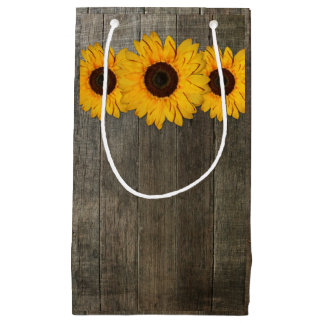 Country Rustic Sunflower Lace & Burlap Gift Bag