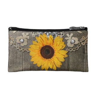 Country Rustic Sunflower Lace Cosmetic Bag