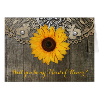Country Rustic Sunflower Lace Maid of Honor Card