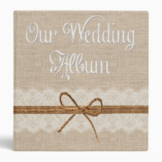Country Rustic Twine Burlap Wedding Photo Album 3 Ring Binders