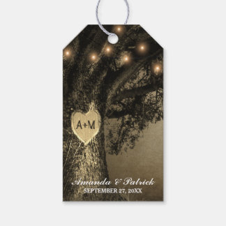 Country Rustic Vintage Carved Oak Tree Wedding Gift Tags