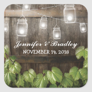 Country Rustic Wedding | Barrel Vine Square Sticker