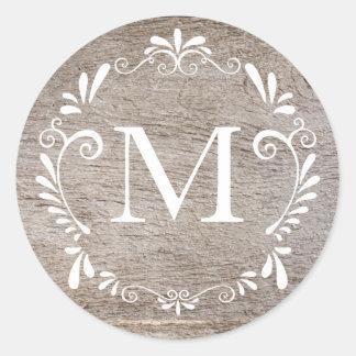 Country Rustic Wedding Monogram Circular Sticker