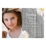 Country rustic white daisy photo graduation party custom invite