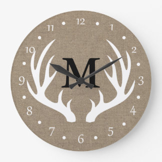 Country Rustic White Deer Antlers Large Clock