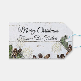 Country Rustic Wood and Pine Cones Gift Tag