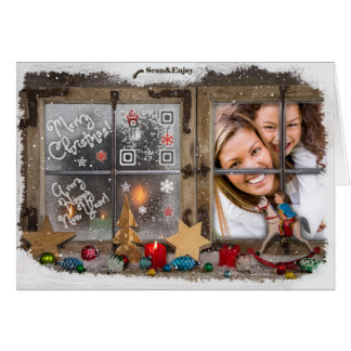 Country Rustic Wood Christmas Music Photo card