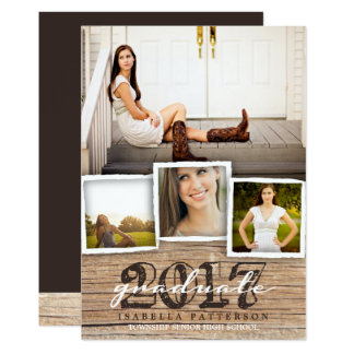 Country Rustic Wood Graduation 2017 Invitation