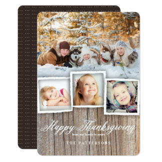 Country Rustic Wood Happy Thanksgiving Photo Card