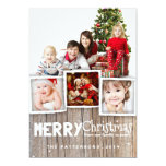 "Country Rustic Wood Merry Christmas Photo Card 5"" X 7"" Invitation Card"