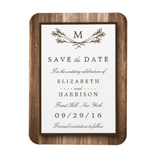 Country Rustic Wood Monogram Branch Save The Date Rectangular Photo Magnet