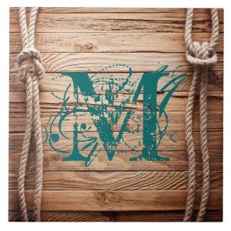 Country Rustic Wood Rope Monogram Display Tile