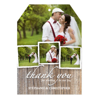 Country Rustic Wood Thank You Wedding Photo Card