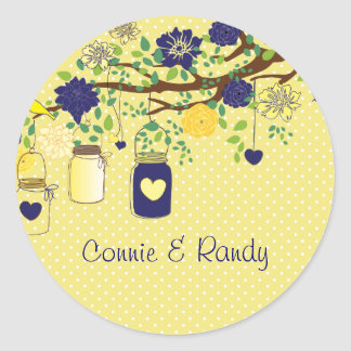 Country Rustic Yellow Maize and Blue Mason Sticker