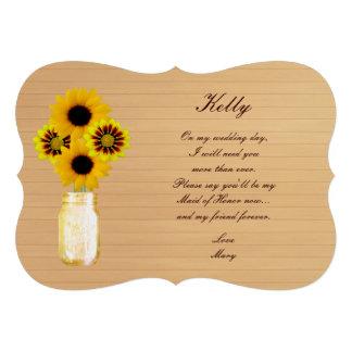 Country Rustic Yellow Mason Jar Maid Of Honor Card