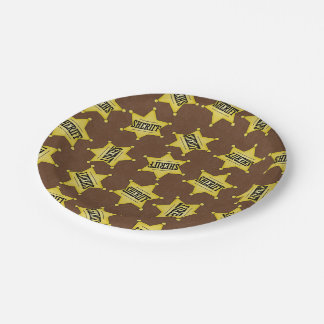Country Sheriffs Badge pattern party paper plate