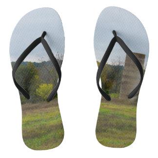 Country Silo Landscape Flip Flops