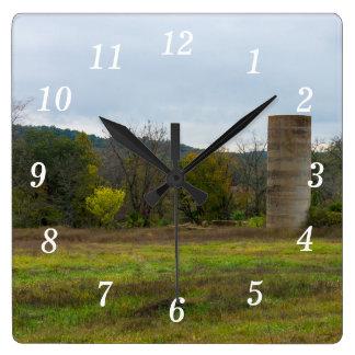 Country Silo Landscape Square Wall Clock