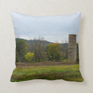 Country Silo Landscape Throw Pillow