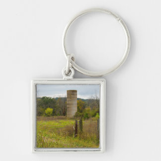 Country Silo Silver-Colored Square Keychain