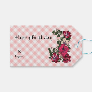 Country Simple with Gingham and Flowers Gift Tags